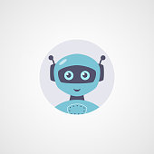 Vector robot flat icon. Cute symbol in circle isolated on white background. Cyber technologies and artificial intelligence themes.
