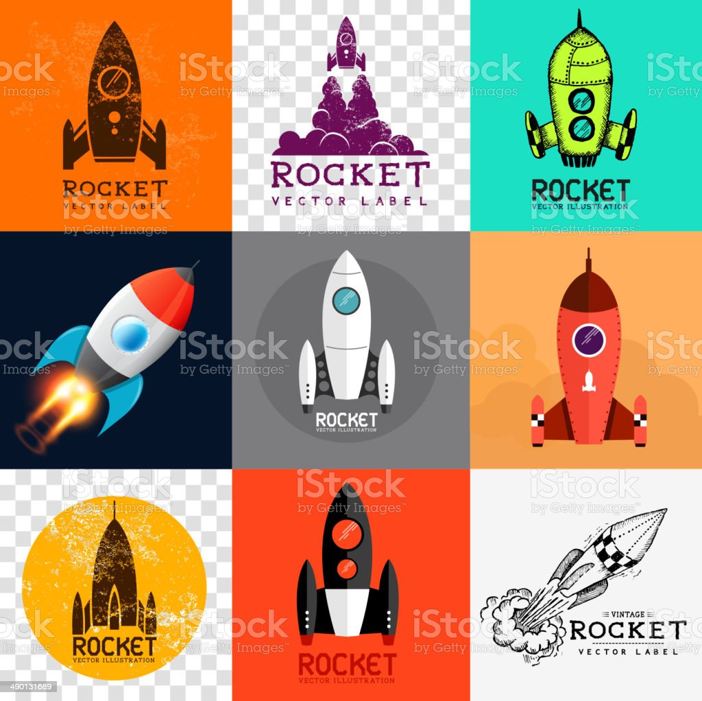 Vector Rocket Collection vector art illustration