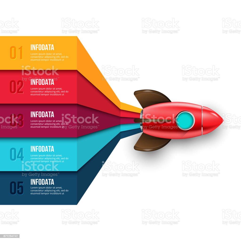 Ilustración de Infografía De Cohete Vector Plantilla De Diagrama ...