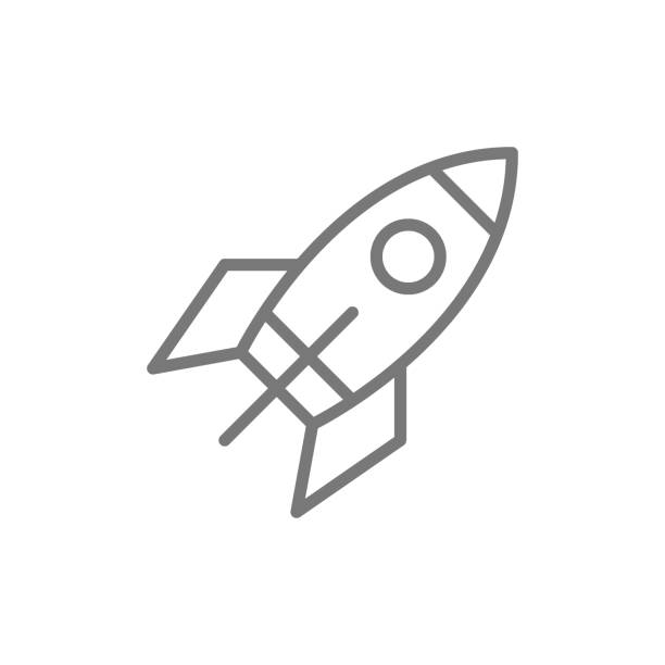 Vector rocket line icon. Vector rocket line icon. Symbol and sign illustration design. Isolated on white background rocket stock illustrations