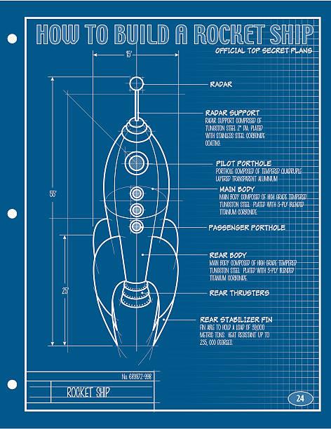 Vector Rocket Ship Blueprint vector art illustration