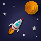 Vector rocket, space, planets, stars, cut from paper, 3d. Used for posters, posters, postcards, banners, backgrounds