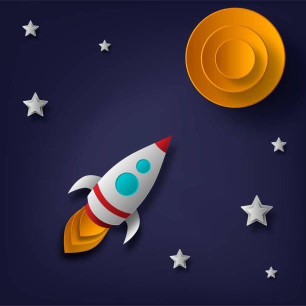 vector rocket, space, planets, stars, cut from paper, 3d. used for posters, posters, postcards, banners, backgrounds - abstract of paper spaceship launch to space stock illustrations, clip art, cartoons, & icons