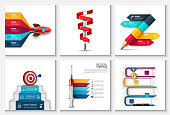 Vector rocket, stairs with target and dart, thermometer, pencil and other elements. Startup, medicine and education infographic with 3, 4 and 5 steps, options, parts or processes.