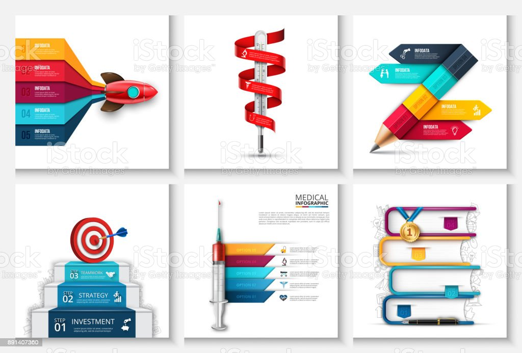 Vector rocket, stairs with target and dart, thermometer, pencil and other elements. Startup, medicine and education infographic with 3, 4 and 5 steps, options, parts or processes. vector art illustration