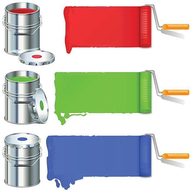 vektor-roller pinsel und farbe - hausfarbpaletten stock-grafiken, -clipart, -cartoons und -symbole