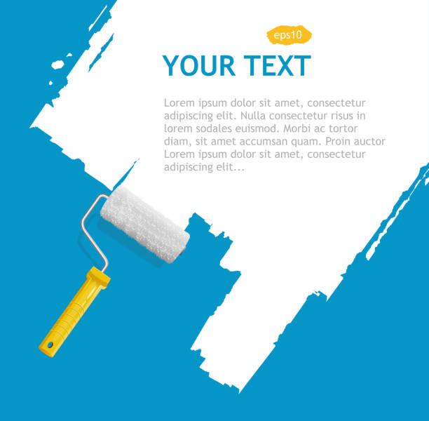 Vector roller brush, white background Background for text paint roller stock illustrations