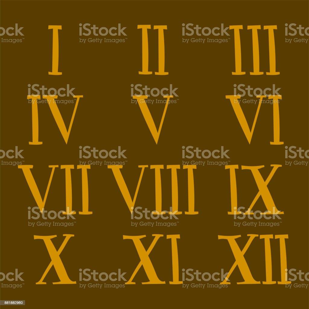 Vector Roman Number Alphabet Symbol Sign Illustration Design Numeral