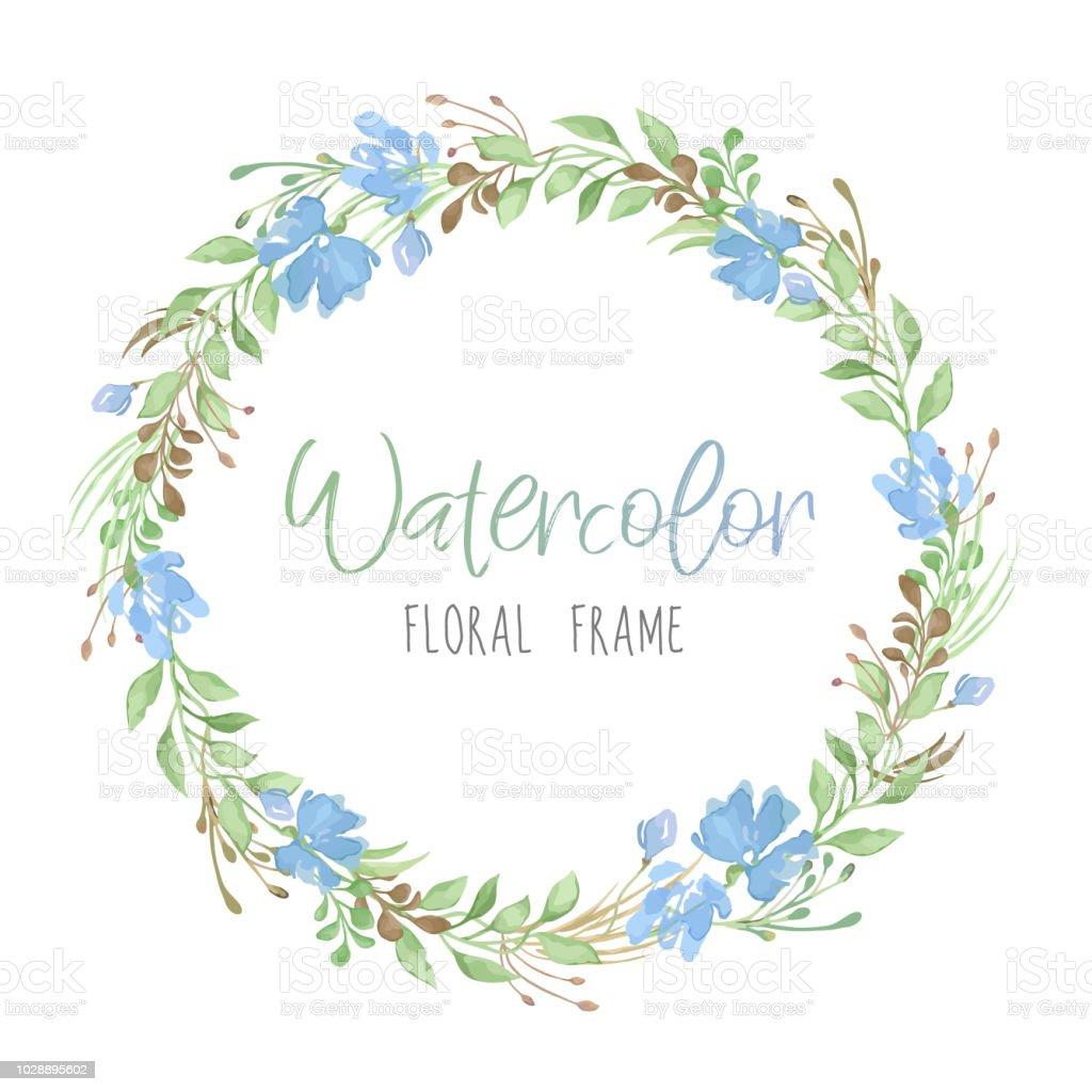 Ilustracion De Romantico De Vector Floral Redondo Marco Con Hojas