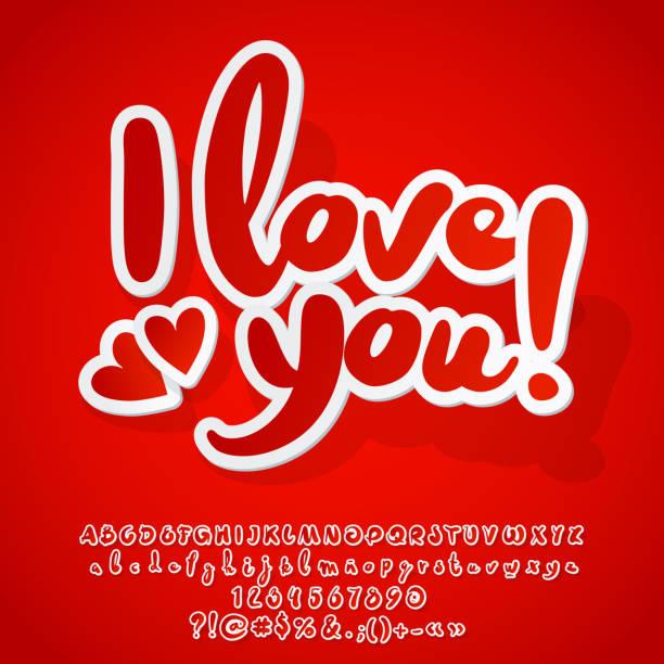 ilustraciones, imágenes clip art, dibujos animados e iconos de stock de vector tarjeta moderna romántica te quiero con corazones - tipos de letra y tipografía