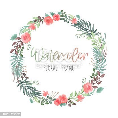 istock Vector romantic round floral frame with plants and flowers in watercolor style isolated on white background - great for invitation or greeting cards 1028623572