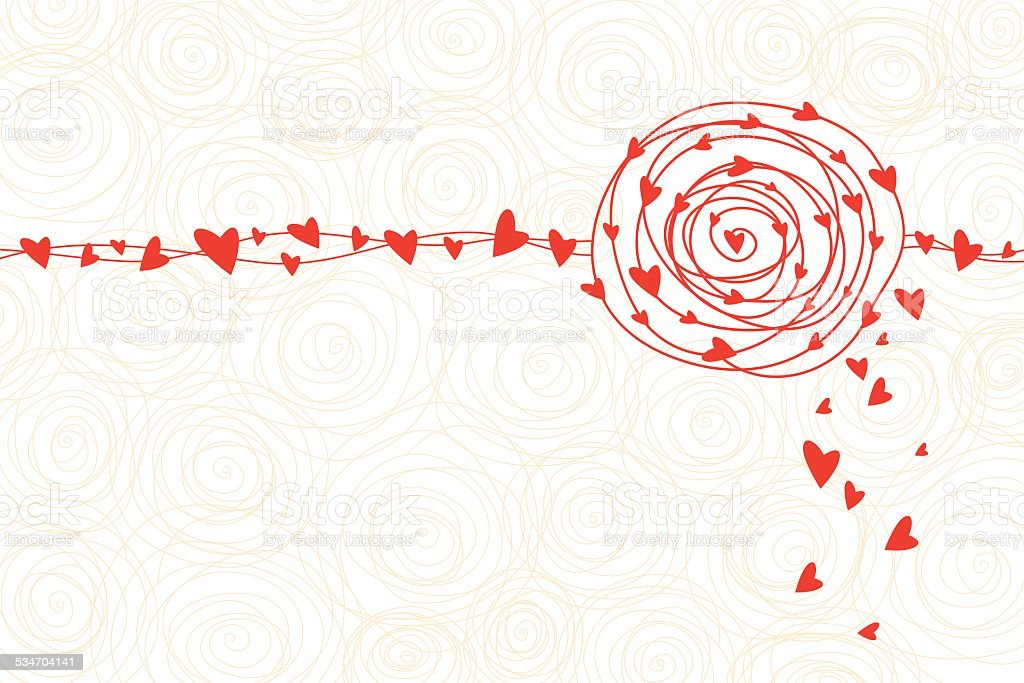 Vector rose and heart background vector art illustration