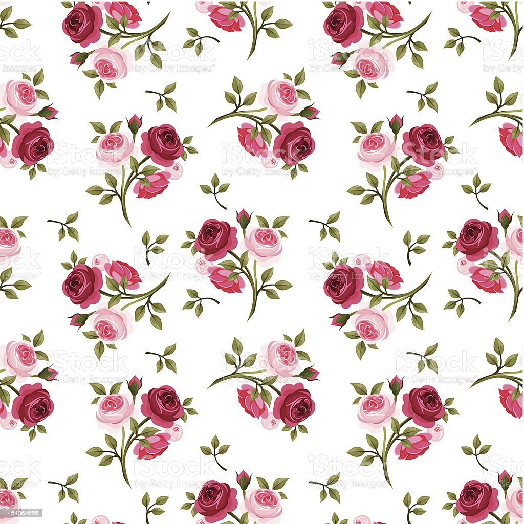 A vector rose pattern in pink and red vector art illustration