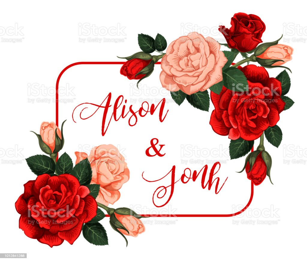 Vector Roses Flowers Frame With Names Stock Vector Art More Images