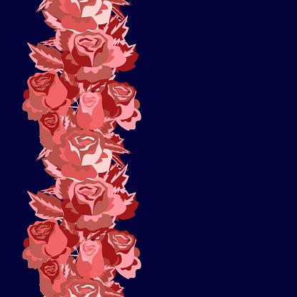 Vector - roses seamles garland.