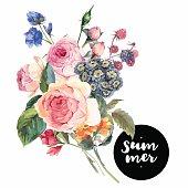 Vector roses vintage floral greeting card