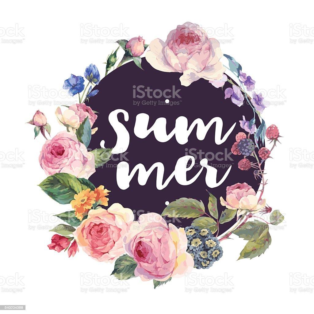 Vector roses vintage floral round frame vector art illustration