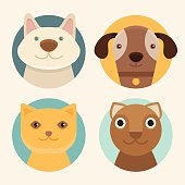 Vector round badges with cats and dogs in flat style