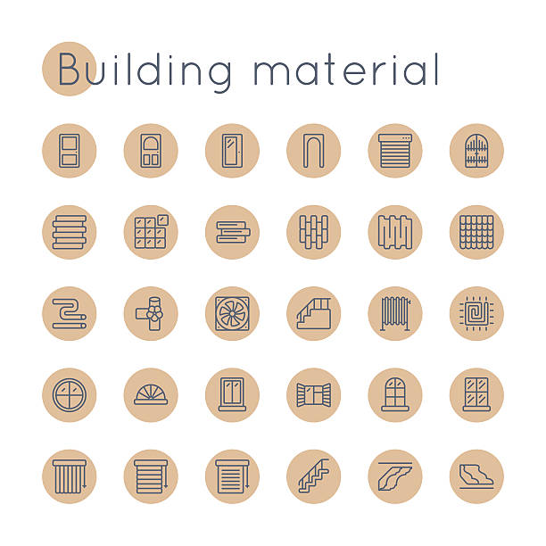 Vector Round Building Material Icons Vector Round line Building Material Icons, including doors, siding, roof, tile, heater, floor, windows symbols and other,  isolated on white background front stoop stock illustrations