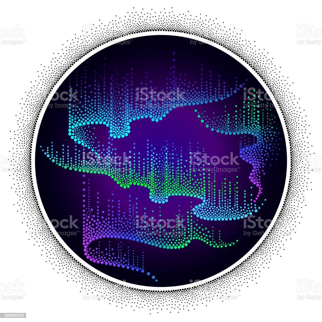 Vector rodada composição com luzes da Aurora Boreal no estilo dotwork sobre o fundo de noite. - ilustração de arte em vetor