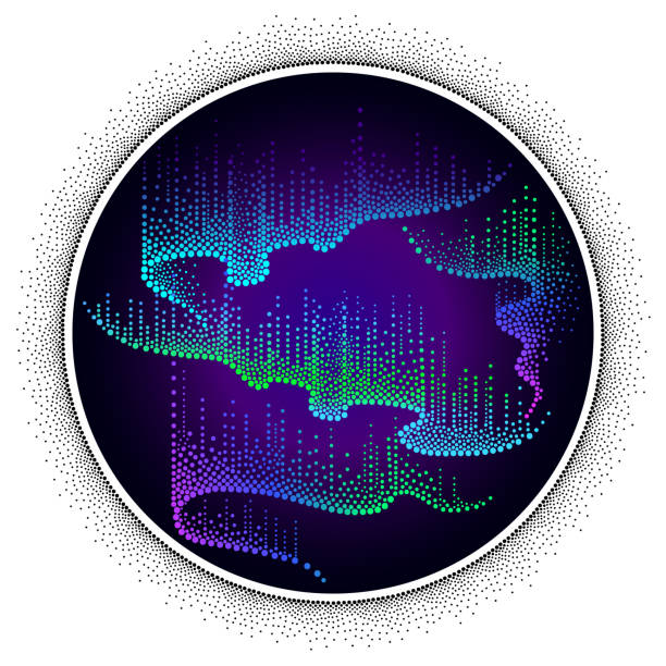 illustrazioni stock, clip art, cartoni animati e icone di tendenza di vector round composition with aurora borealis lights in dotwork style on the night background. - aurora boreale