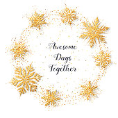 Vector round frame of glitter shiny snowflakes. Merry Christmas gold objects collection. Magic mist glowing. Stylish seasonal fashion banner. All elements are isolated and editable