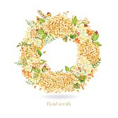 Vector round frame of yellow watercolor hydrangea and berries.