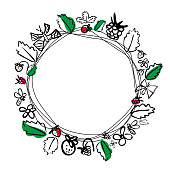 Vector round frame with berries