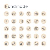 Vector Round line Handmade Icons, including sewing, knitting symbols, scissors, pin, sewing machine, origami, bobbin, crochet, mannequin, dress, patch, button, basket, thread, yarn, isolated on white background