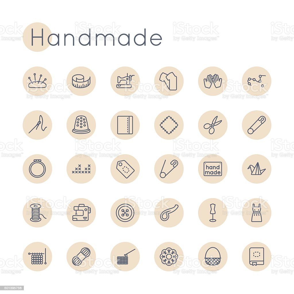 Vector Round Handmade Icons vector art illustration
