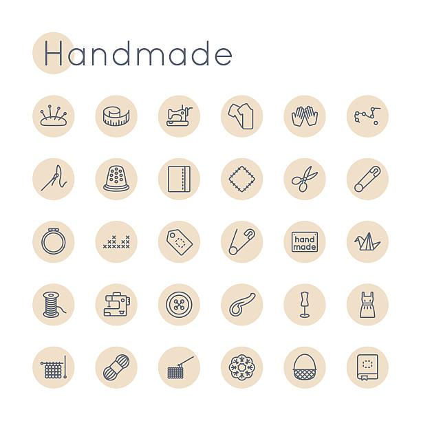 vektor-runde handarbeit symbole - hausgemacht stock-grafiken, -clipart, -cartoons und -symbole