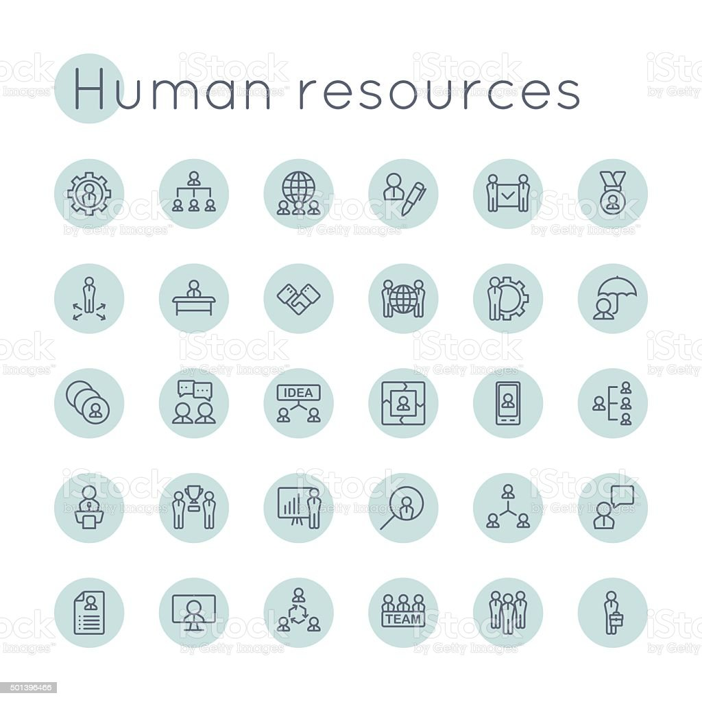 Vector Round HR Icons vector art illustration