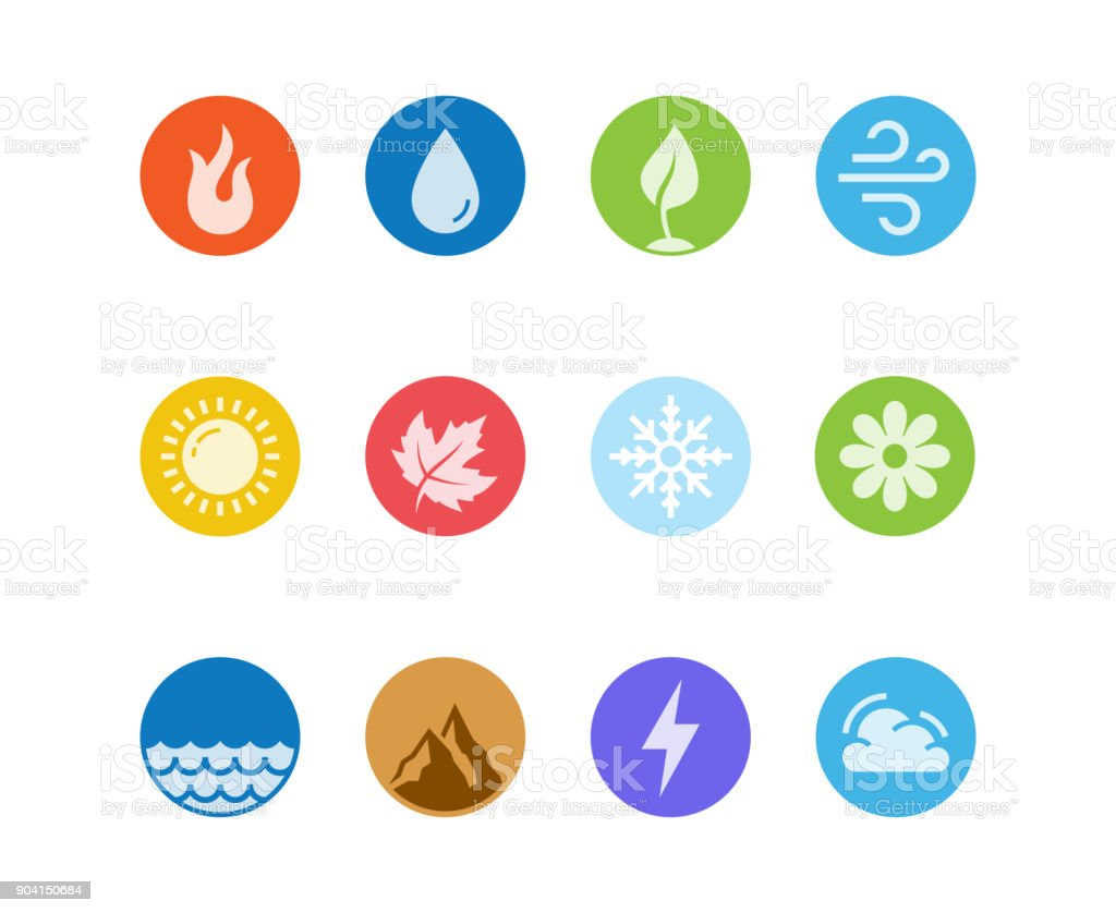 Vector round icon set of fire, water, earth and air elements and seasons of year in flat design style vector art illustration