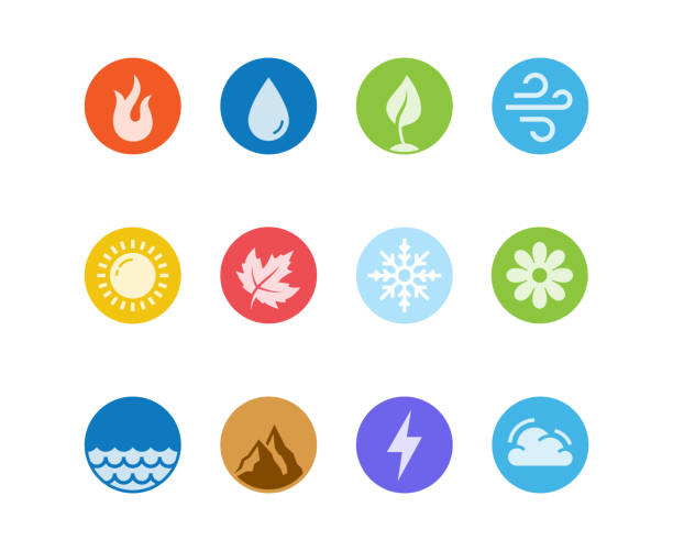 vector round icon set of fire, water, earth and air elements and seasons of year in flat design style - cztery pory roku stock illustrations