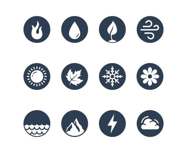 stockillustraties, clipart, cartoons en iconen met vector icon set van vuur, water, aarde en lucht elementen en seizoenen van het jaar in glyph stijl ronde - bloemen storm