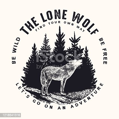 Vector black and white hand drawn round illustration of wild howling wolf silhouette on pine trees forest and typography background. T-shirt print, emblem, label or badge design