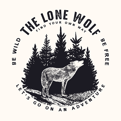 Vector round illustration of howling wolf on forest and typography background. T-shirt print, emblem, label or badge design