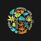 Vector round illustration with hand drawn textured prehistoric plants. Naive kid drawn style. Tropical herbs.