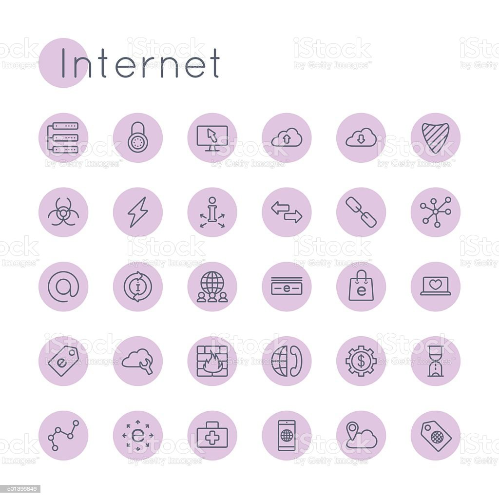 Vector Round Internet Icons vector art illustration