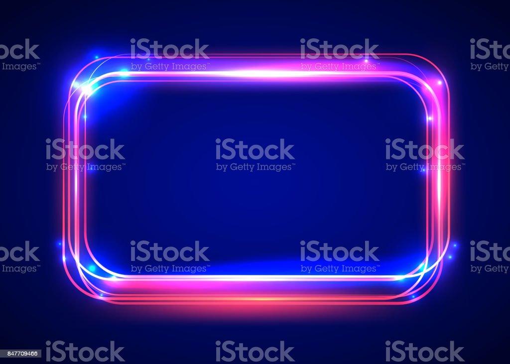 Vector round light frame. Shining square banner.