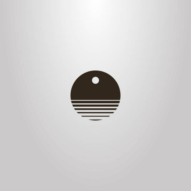 vector round negative space sign of abstract water waves under the sun or moon black and white simple vector round negative space sign of abstract water waves under the sun or moon waterfront stock illustrations