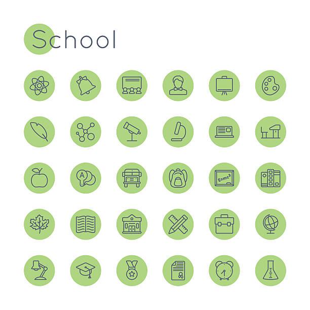 vektor-runde schule symbole - hausfarbpaletten stock-grafiken, -clipart, -cartoons und -symbole
