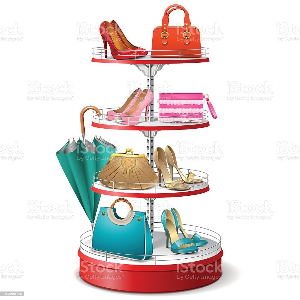 Vector Round Shelf with Female Accessories vector art illustration