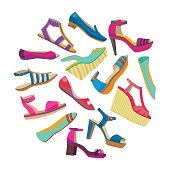 vector round shoes composition with high heels and flat shoes