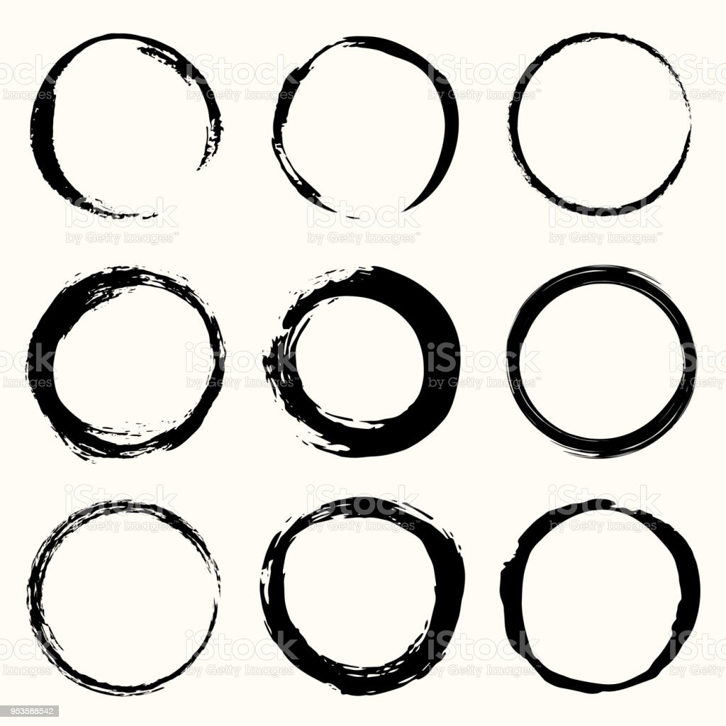 Vector round strokes. Brush painted. Circle black frame painted.