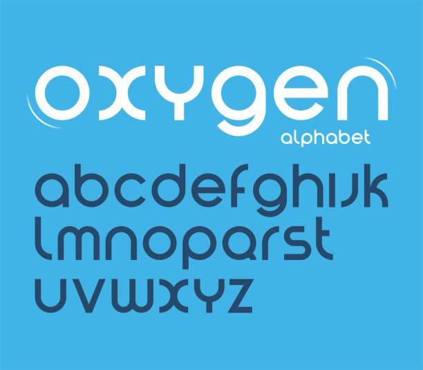 vektor-runde stil minimalistisch schrift, buchstaben, schrift. - sauerstoff stock-grafiken, -clipart, -cartoons und -symbole