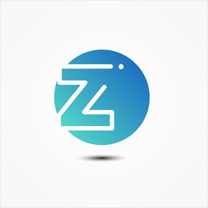 Vector round symbol letter Z design minimalist