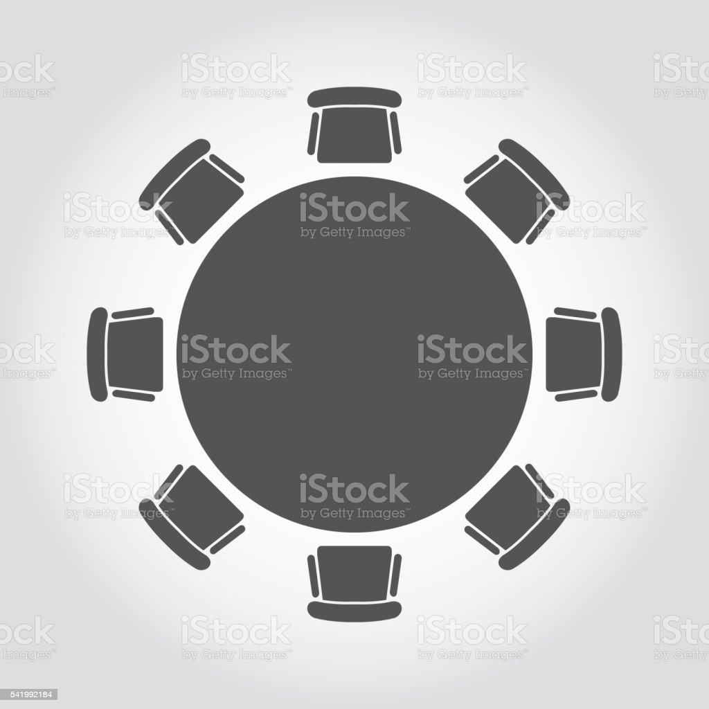 Vector round table icon vector art illustration