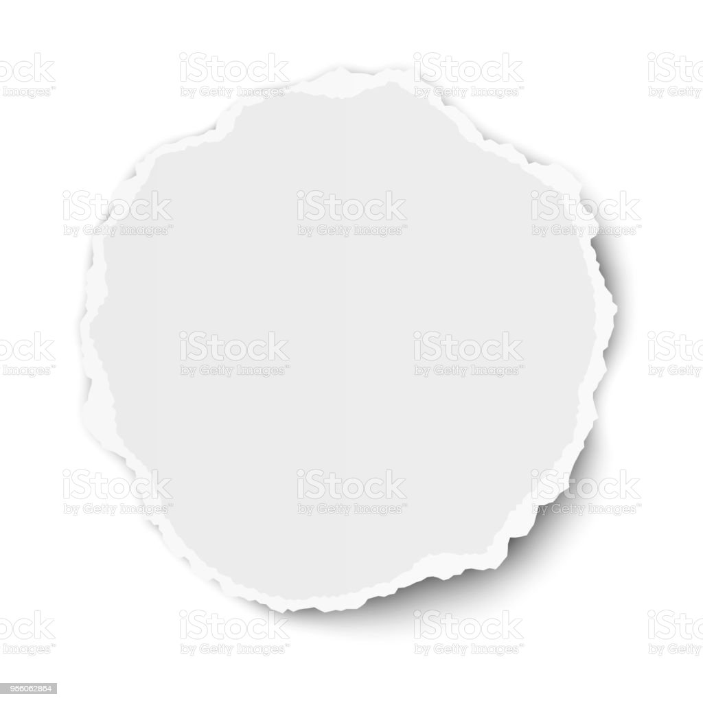 Vector round torn paper tear with soft shadow isolated on white vector art illustration