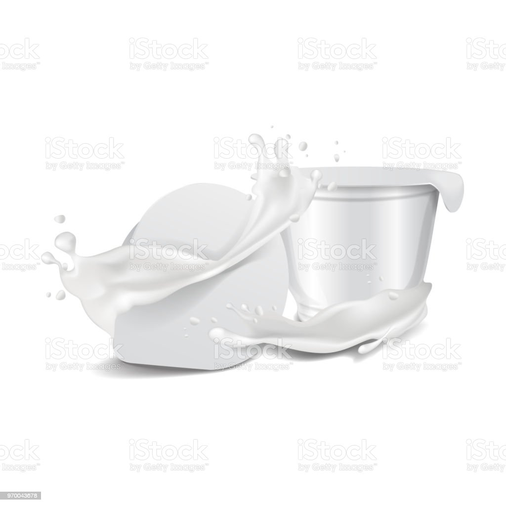 Vector Round White Glossy Plastic Pot With Foil Cover And Milk
